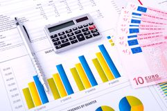 Financial Analysis with charts and money Royalty Free Stock Images