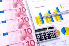 Financial Analysis with charts and money Royalty Free Stock Photography