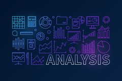 Financial analysis colorful horizontal banner. Financial analysis colorful concept horizontal vector linear banner or illustration on dark background Stock Photography