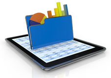Financial analysis and computer. One tablet pc with a computer folder and  bar chart and a pie chart (3d render Royalty Free Stock Photography