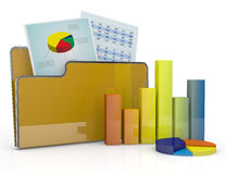 Financial analysis and computer. Computer folder with chart and spreadsheet (3d render Stock Photography