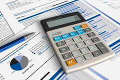 Financial analysis concept. Office calculator and pen over financial reports Stock Image