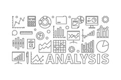 Financial analysis concept vector banner. Financial analysis concept horizontal vector banner or illustration in line style on white background Stock Photos