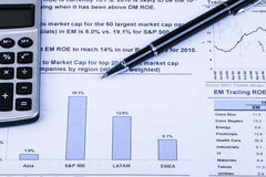 Financial analysis concept. Inancial concept including statistics, graphs, charts Stock Photography