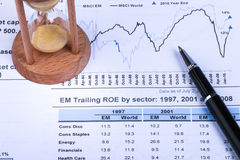 Financial analysis concept. Inancial concept including statistics, graphs, charts Stock Images