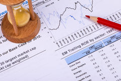 Financial analysis concept. Inancial concept including statistics, graphs, charts Stock Image