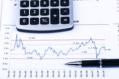 Financial analysis concept. Inancial concept including statistics, graphs, charts Stock Photos