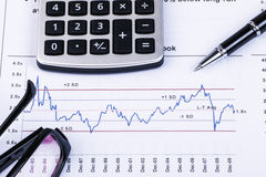 Financial analysis concept. Inancial concept including statistics, graphs, charts Stock Photo