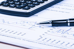 Financial analysis concept. Inancial concept including statistics, graphs, charts Royalty Free Stock Photos