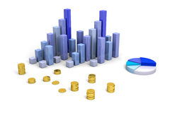Financial analysis. 3D finance bars on white background Royalty Free Stock Photography