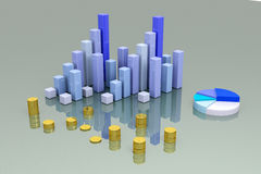 Financial analysis. 3D finance bars on white background Stock Image