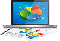 Financial Analysis data on a Laptop Royalty Free Stock Images