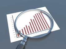 Financial analysis, graph. Magnifier and business Stock Image