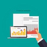 Financial analysis in hand documents laptop with the diagram. Financial analysis illustration of hand with a paper notebook with the diagram Stock Images