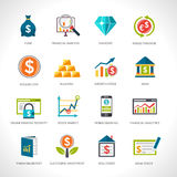 Financial Analysis Icons Set. Financial analysis and investment funding flat design icons set isolated vector illustration Stock Image