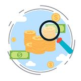Financial analysis, investment control, business monitoring, funds search concept. Financial analysis, investment control, business monitoring, funds search flat Stock Images