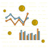 Financial analysis, line art. Vector eps 10 Royalty Free Stock Image