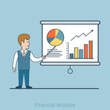 Financial Analysis Linear Flat Business man vector. Linear Flat Businessman shows report, presentation vector illustration. Financial Business Analysis, Audit Stock Photos
