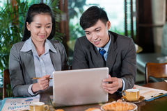 Financial analysis on lunch Royalty Free Stock Photo