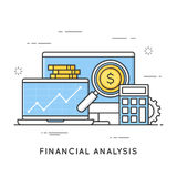 Financial analysis, project management, statistics, business str. Ategy and planning, accounting, market research. Flat line art style concept. Vector banner Stock Images