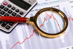 Financial analysis report and graph Stock Photos