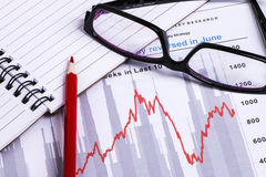 Financial analysis report and graph Stock Images