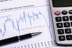 Financial analysis report and graph Royalty Free Stock Image