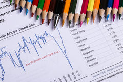 Financial analysis report and graph Stock Photography