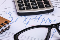 Financial analysis report and graph Stock Image