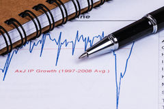 Financial analysis report and graph Royalty Free Stock Images