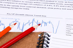 Financial analysis report and graph Stock Photo