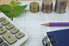 Financial analysis by rows chart pen calculator. Financial analysis by rows chart pen calculator Stock Images