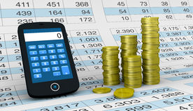 Financial analysis and statistic. One smartphone with a calculator application a spreadsheet and piles of coins  (3d render Royalty Free Stock Photos