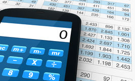 Financial analysis and statistic. One smartphone with a calculator application and spreadsheet  (3d render Royalty Free Stock Photography