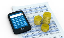 Financial analysis and statistic. One smartphone with a calculator application a spreadsheet and piles of coins  (3d render Stock Photos