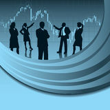 Financial Analysis team. A business team in silhouette with financial design elements Royalty Free Stock Photography
