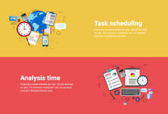 Financial Analysis Time Management Scheduling Business Web Banner. Flat Vector illustration Stock Images