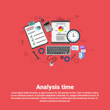 Financial Analysis Time Management Scheduling Business Web Banner. Flat Vector illustration Royalty Free Stock Images