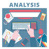 Financial analysis vector concept. Audit and accounting proccess Royalty Free Stock Image