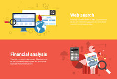 Financial Analysis, Web Search Digital Content Information Technology Business Web Banner. Flat Vector Illustration Stock Photos