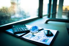 Financial analysis of workplace Royalty Free Stock Photo
