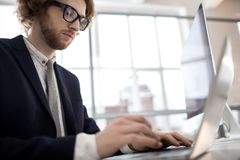 Financial analyst. Contemporary young broker typing on laptop while making analysis of online sales rate royalty free stock photos