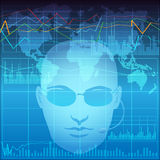 Financial analyst. Illustration with financial analyst in process of exchange monitoring Stock Photography