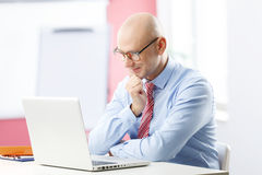 Financial analyst. Portrait of senior advisor analyzing data at computer while sitting at office stock photos