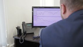 The financial analytic is carefully looks after the price rates on his two computer monitors. The professional prepares the report on market situation and stock video footage