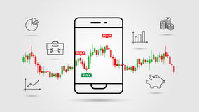 Financial analytics app vector illustration. Mobile app for investment and online trade line art concept. Buy and sell indicators on the candle bar chart Royalty Free Stock Image