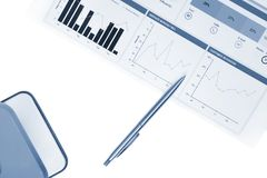 Financial analytics, business idea, charts and graphs, market statistics, graphic report, marketing background isolated Stock Image