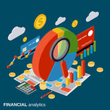 Financial analytics, business report, statistic vector concept. Financial analytics, business report, statistic flat3d isometric vector concept Royalty Free Stock Photos
