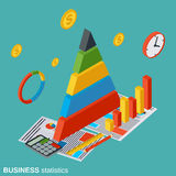 Financial analytics, business statistics vector concept. Financial analytics, business statistics flat isometric vector concept illustration Royalty Free Stock Images