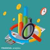 Financial analytics, business statistics vector concept illustration. Financial analytics, business statistics flat isometric vector concept illustration Royalty Free Stock Photography